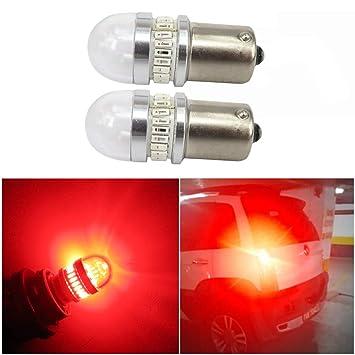 WLJH 2 bombillas LED 1156 1141 1003 BA15S con lente de repuesto para luces de freno, luces traseras, intermitentes, color rojo brillante: Amazon.es: Coche y ...