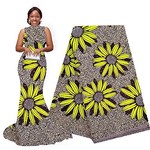 pqdaysun African Super Wax Print Fabric Ankara Fabric Wax Material 6 Yards for Sewing Dress Clothing (Yellow khakil)