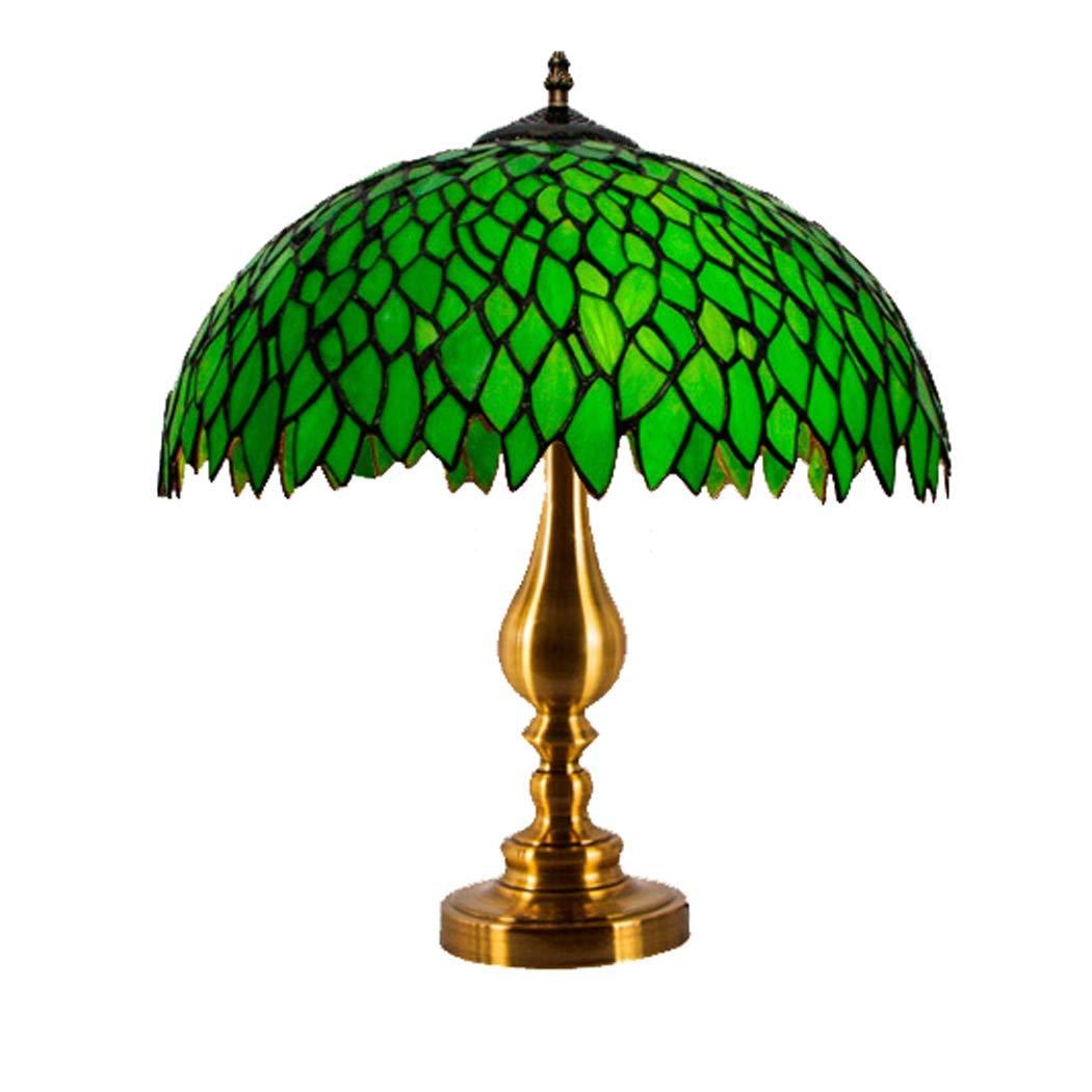 ティファニースタイルテーブルライト、合金ベースとステンドグラスの田園風の緑の花びらテーブルランプ、ベッドルームのコーヒーテーブルのリビングルームのデスクベッドサイドライト,B B07RFC9G8Z B