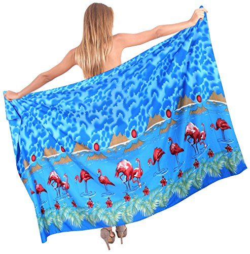 La Leela Likre Strandbadebekleidung Bikini Flamingo Frauen Glatt skirt88x39inch Sarong Blau_1 vd31J