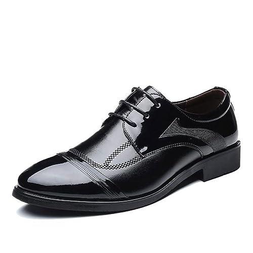 e4cb52e50668e NBWE Men's Shoes Black Breathable Dress Shoes Patent Leather Wedding ...