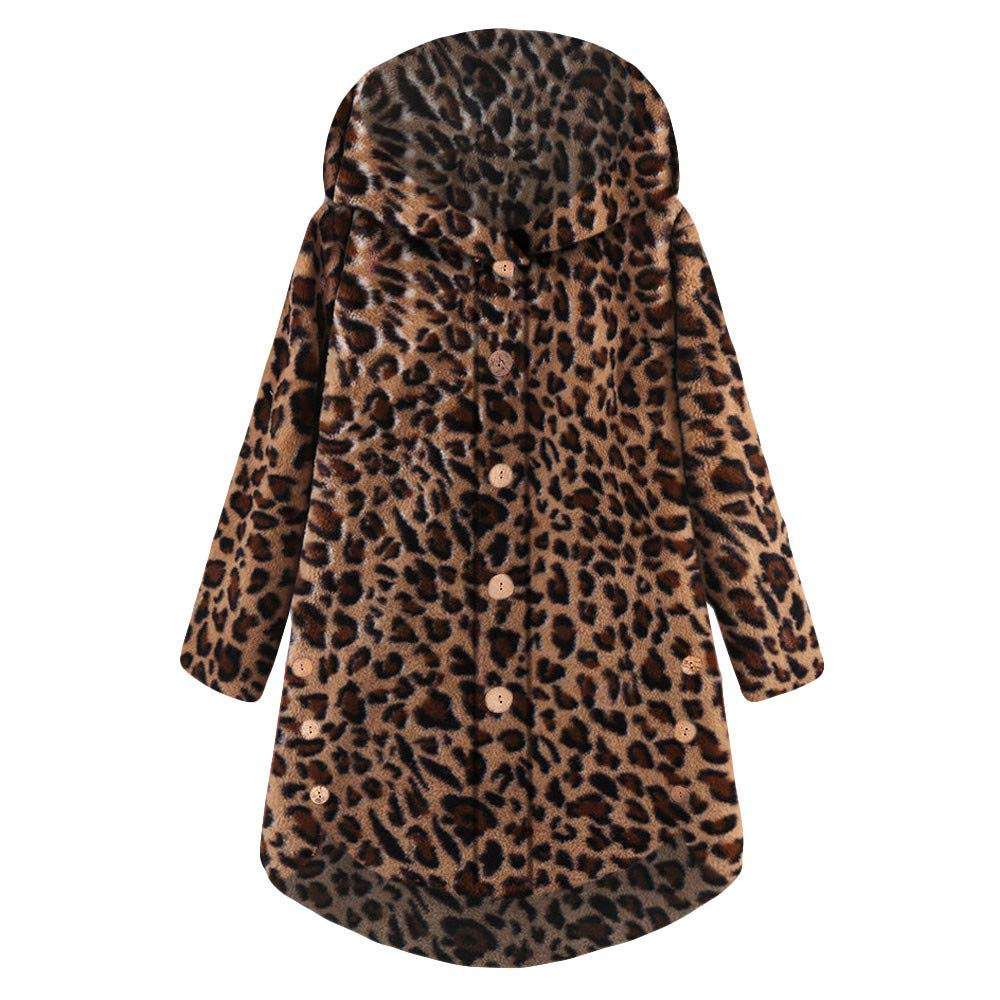 Women Leopard Jacket, Vanvler Ladies Winter Warm Fluffy Coat Button Hoodies Pullover Tops Loose Sweater Vanvler❤women coat jacket