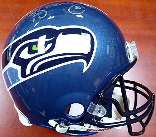 Matt Hasselbeck Signed Seattle Seahawks Full Size Authentic Proline Helmet In Silver On Right - Authentication Authentic Autograph - Football Collectible
