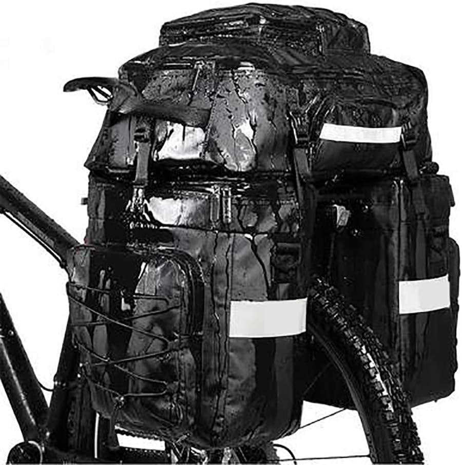 Alforjas para bicicleta Bicicleta bolsa de equipaje asiento trasero, 75L gran capacidad de bicicleta a prueba de agua bolsa de cremallera trasera, adecuado for bicicleta de montaña, bicicleta de carre