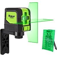 Huepar 9011G Niveau Laser Croix Vert, DIY Ligne Laser avec Fonction de Auto-nivellement et Inclinaison, H110°/ V110° Angle de couverture, Distance de Travail 15m, Support Magnétique et 2 Piles Incluse