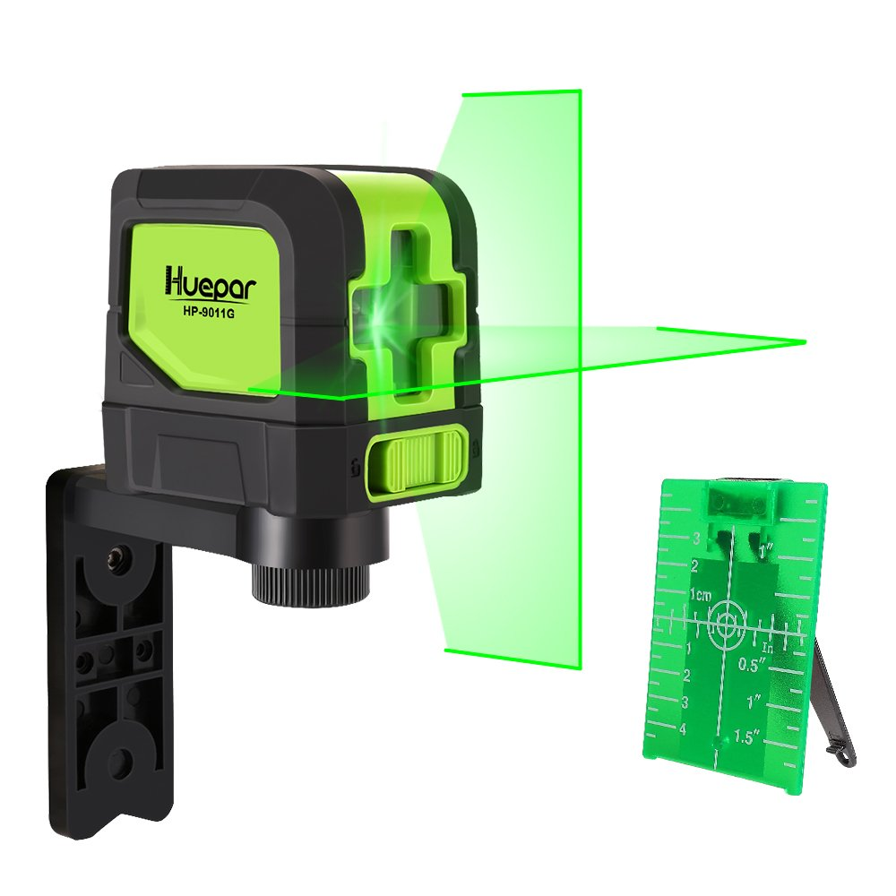 Huepar Green Laser Level DIY - Mute Cross Line Laser Self-Leveling 9011G 98 Ft Cross Green Beam Laser Horizontal and Vertical Lines, Bright Laser with Magnetic Pivoting Base by Huepar (Image #1)