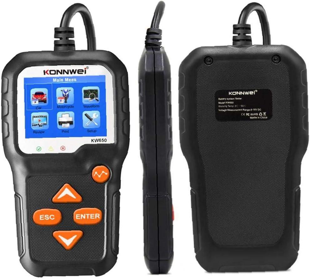 Batteria KW650 6V 12V Tester Automotive Battery alternatore diagnostica 100-2000 CCA della batteria Tester di carico sostituzione per i veicoli Marine Moto Lawn Mover