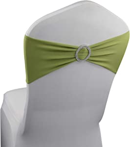 Apple Green Spandex Chair Bands Sashes - 50 pcs Wedding Banquet Party Event Decoration Chair Bows Ties (Apple Green, 50 pcs)
