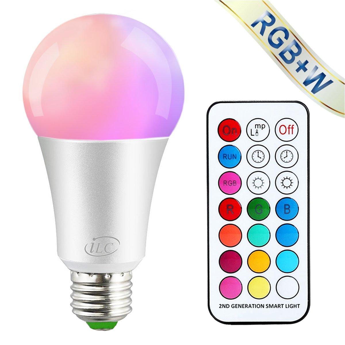 iLC Bombillas Colores RGBW LED Bombilla Regulable Cambio de Color 10W E27 Edison - RGB 12 Color - Control remoto Incluido para Casa/ Decoració n / Bar / Fiesta / KTV Ambiente Ambiance Iluminació n (Pack de 2)