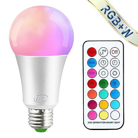 iLC Ampoule Led Couleur Edison Dimmable Changement de couleur Ampoule 10W E27 RGBW LED Ampoules [2017 Deuxième génération] - RGB 12 choix de couleur - Télécommande ComprisiLC Ampoule Led Couleur Edison Changement de couleur Ampoule 10W E27 Dimmable RGBW LED Ampoules [2017 Deuxième génération] - RGB 12 choix de couleur - Télécommande Compris