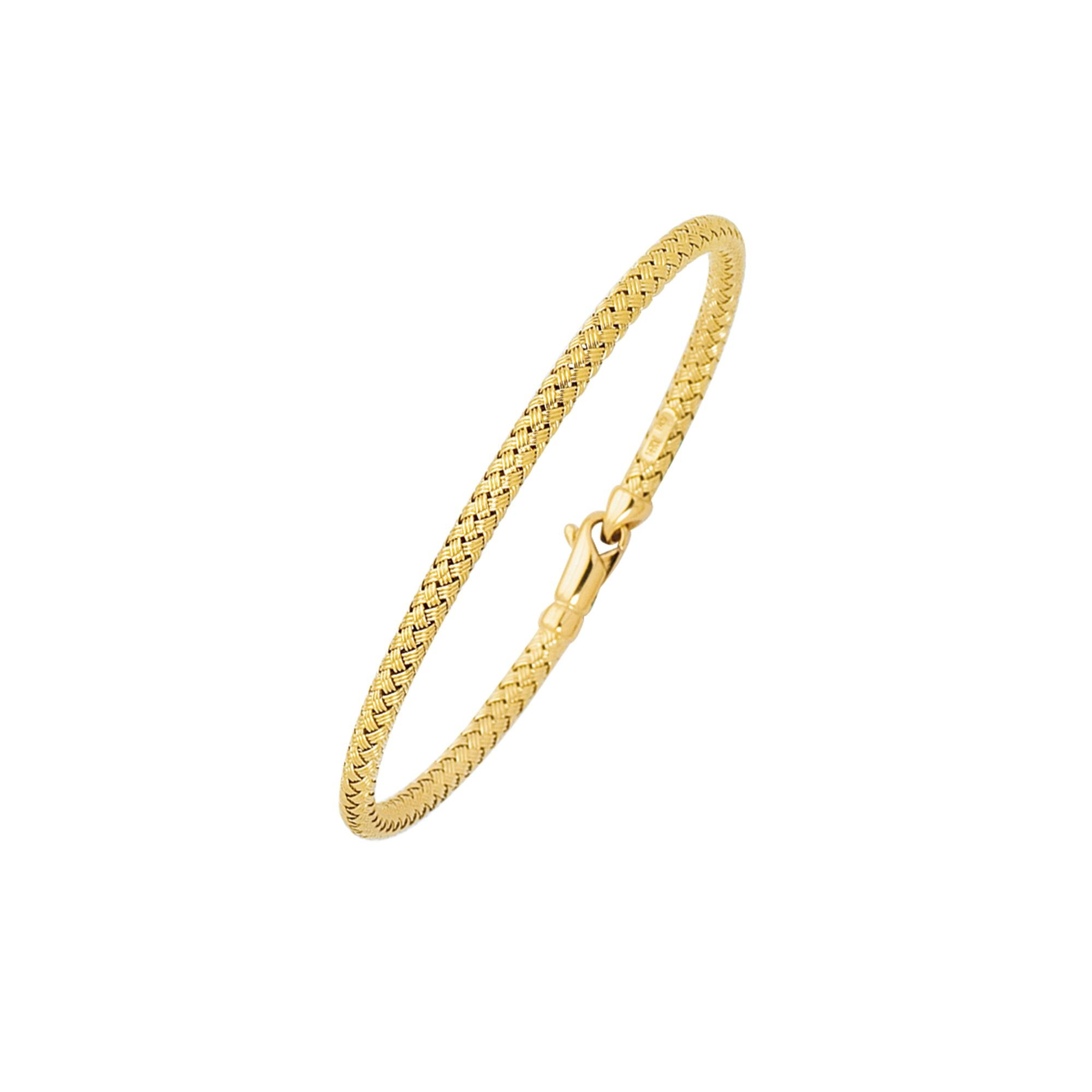 14K 7.25'' Yellow, White or Rose Gold Shiny Round Basket Weaved Bangle with Lobster Clasp (yellow-gold)