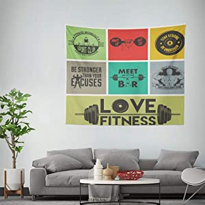 Qamida Fitness Tapestry Various Motivational Words in Colorful Get Fit Active Healthy Lifestyle Tapestry for Bedroom Aesthetic Room Decor Wall Hanging Wall Art Picnic Mat Bed Cover 60