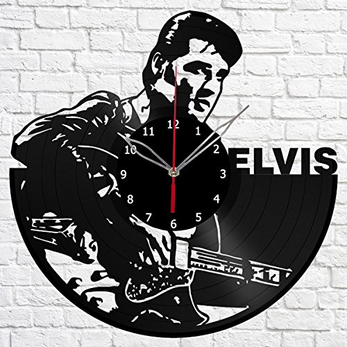 Elvis Presley Music Vinyl Record Wall Clock Fan Art Handmade Decor Original Gift Unique Decorative Vinyl Clock 12″ (30 cm)