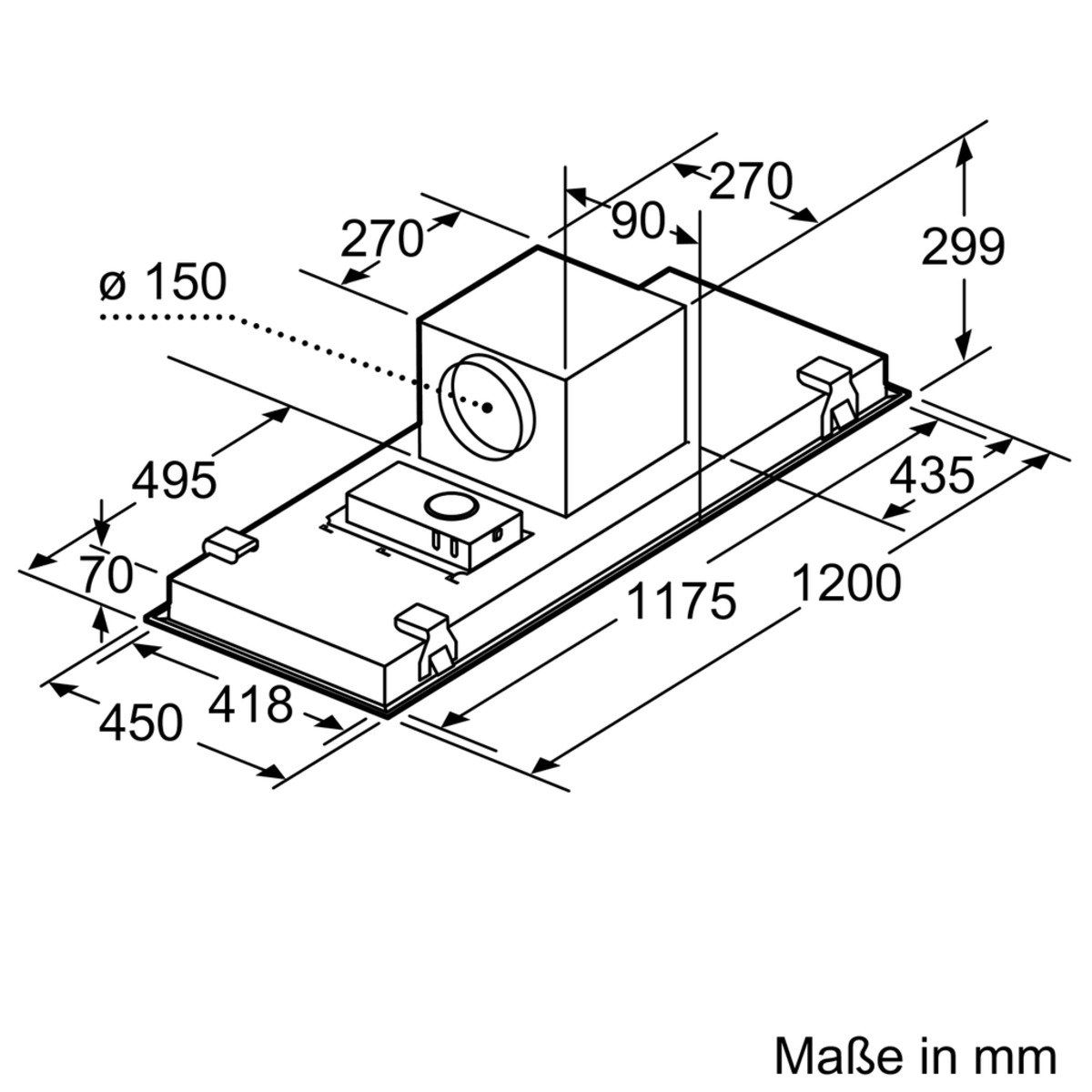 120cm // Deckenl/üfter Neff ICM9267N I92CM67N0 Wahlweise Abluft Edelstahl oder Umluftbetrieb