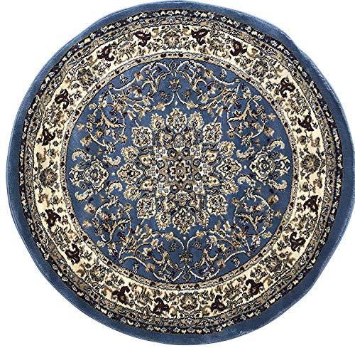 Deir Debwan Traditional Round Persian Area Rug Blue (330,000 Point) Design 603 (4 Feet X 4 Feet Round)