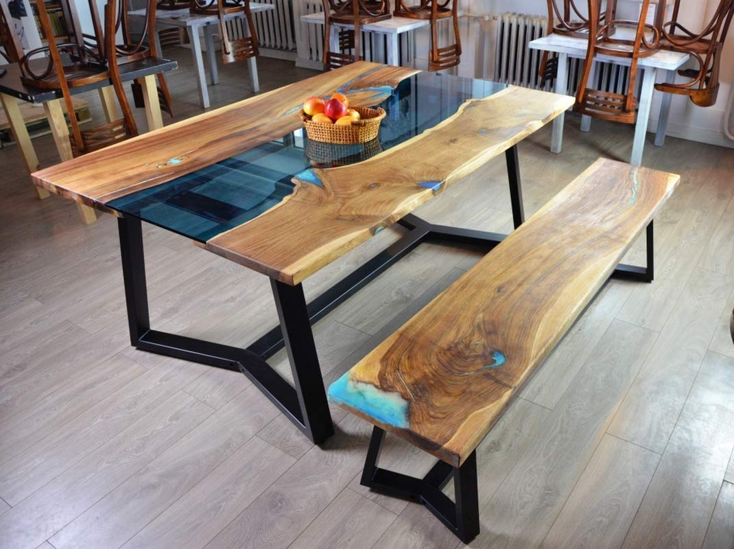 hot sale online e836d e7185 Amazon.com: Live edge river dining table with bench and ...