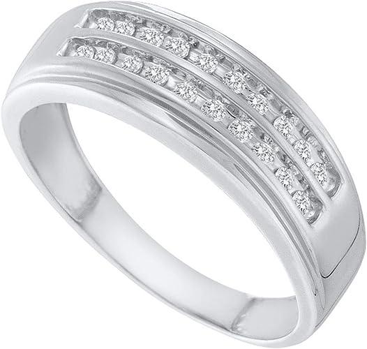 Gemapex Mens Two Row Diamond Wedding Band 10k White Gold