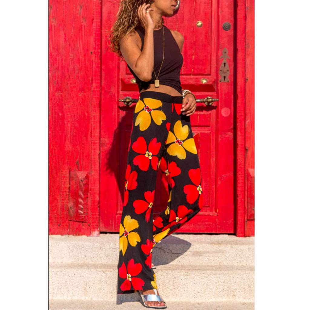 Pervobs Women Summer Casual Boho Floral Printing High Waist Wide Leg Pants Holiday Daily Loose Super Comfy Trouser(L, Black) by Pervobs Women Pants (Image #5)