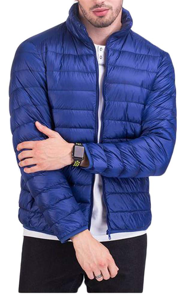 P&E Men's Zip Pocket Casual Lightweight Stand Collar Quilted Short Down Outerwear Coats Jacket Jewelry Blue s