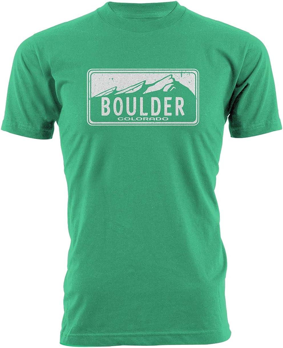 All City Prints Boulder Colorado - Camiseta de Manga Corta Unisex para Hombre - Verde - Small: Amazon.es: Ropa y accesorios