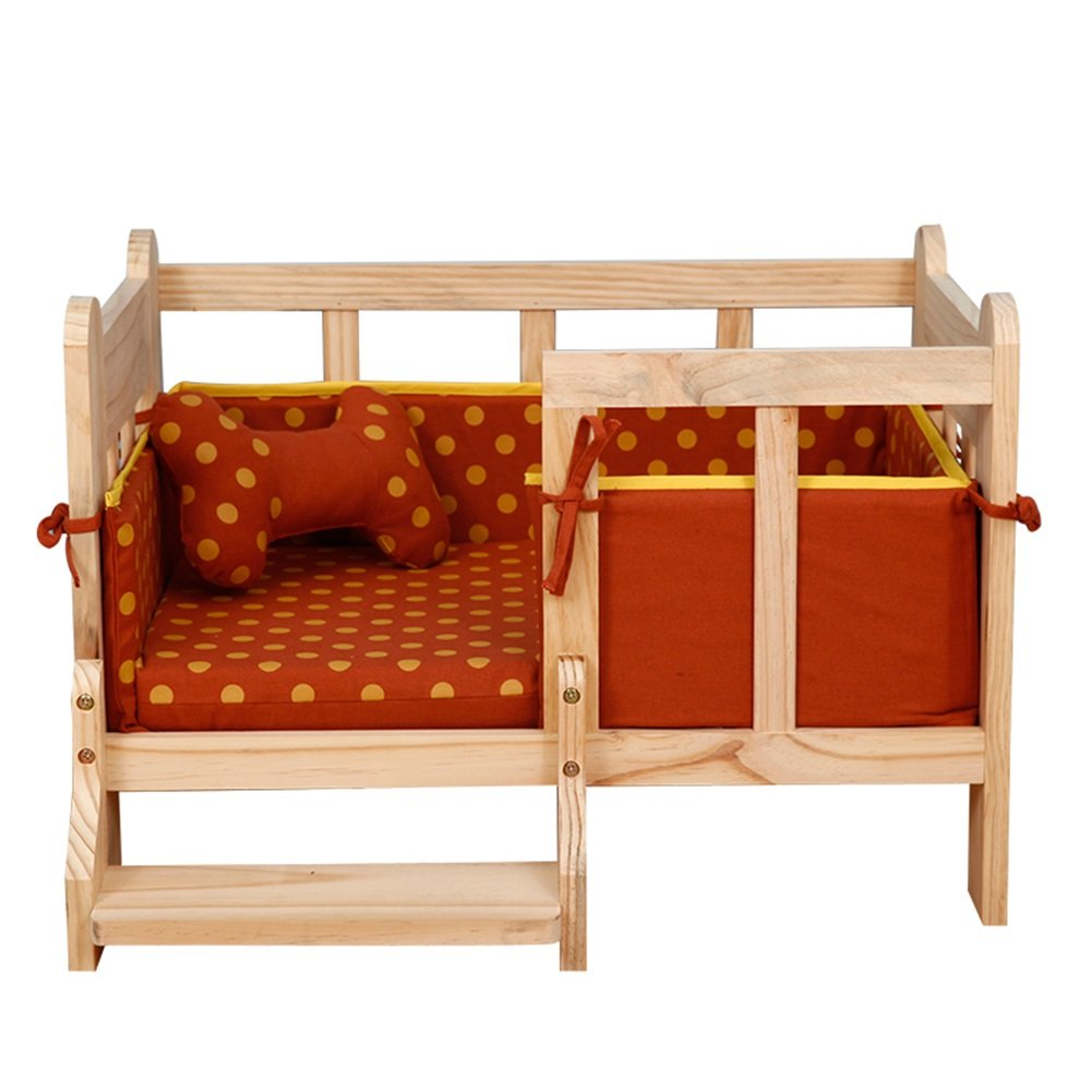 orange YNZYOG Pet Bed Wooden Bed Frame No Paint Nontoxic With Cushions Removable Clean 4 colors To Choose From (color   bluee)