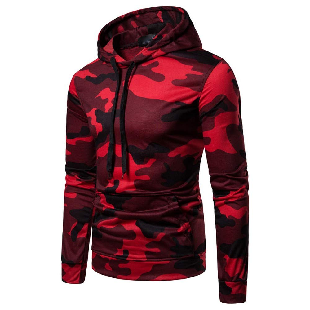 Winter Jackets for Men Construction.Mens Autumn Casual Camouflage Long Sleeve Pullover Sweatshirt Hoodie Coat Top