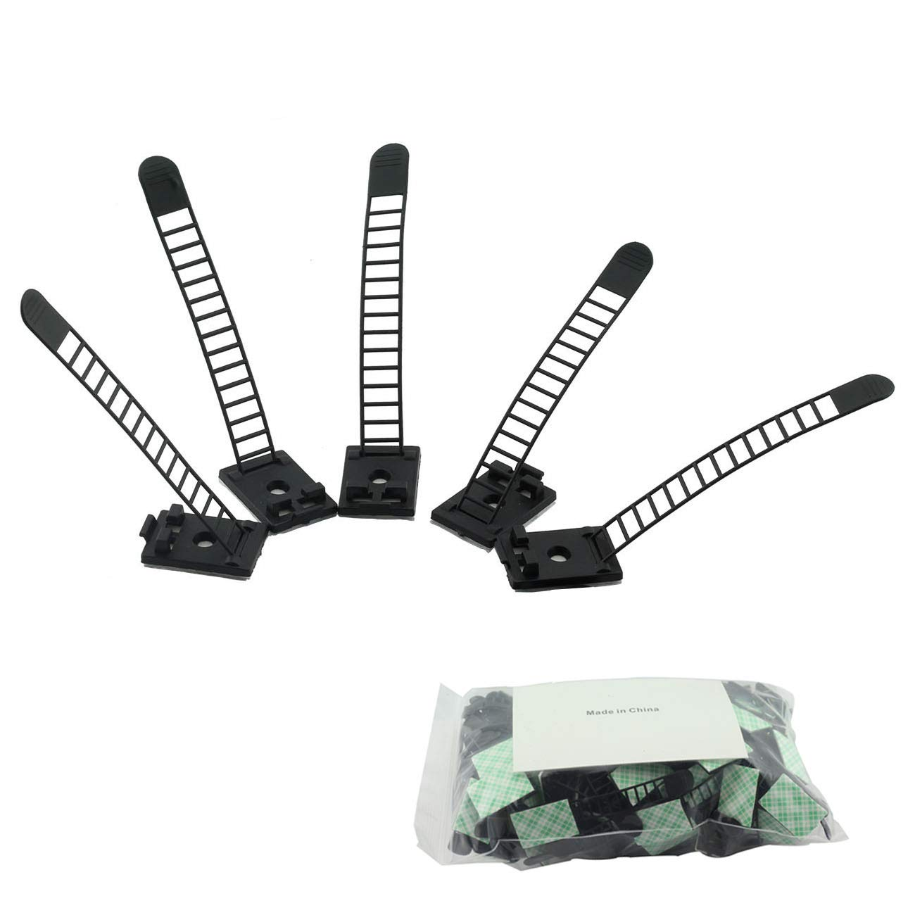 100pcs 91mm Adjustable Self Adhesive Cable Clips Wire Organizer with Optional Screw Mount for Electric Wiring Accessories Cable Clamp Clips Fixed Fasten Cable Tie Black by Magic&Shell (Image #5)