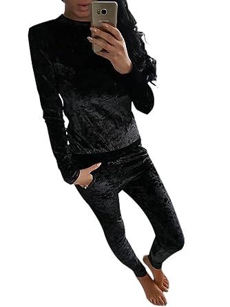 Velour Sweatsuit Sets for Women Casual Tracksuit 2 Pieces Outfits Set Black  S b6d008f1f747