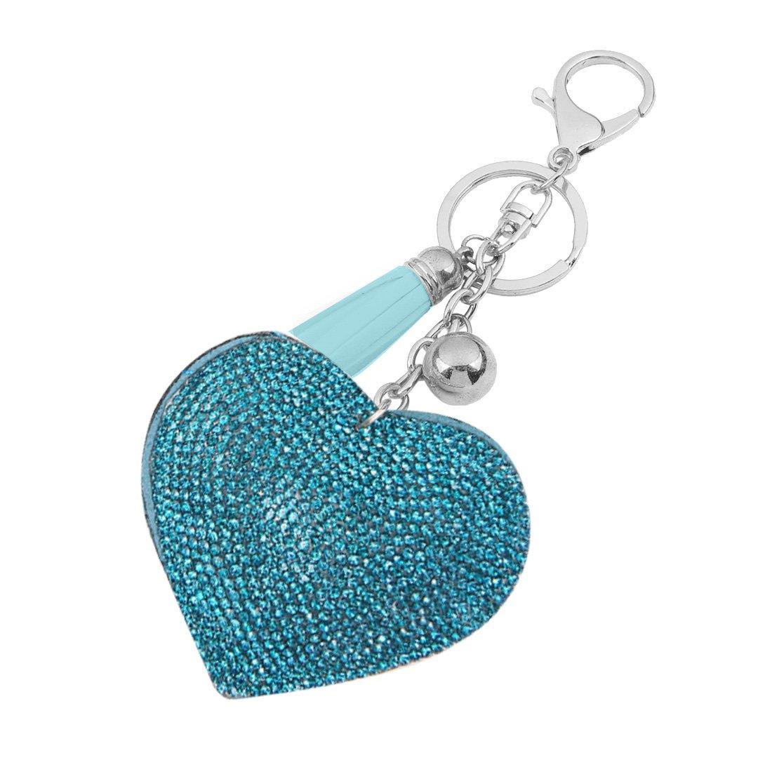 Porte-cl/és Mousqueton Port Clef Bijoux Mode Cadeau Femme Pendentif Coeur Strass Bleu