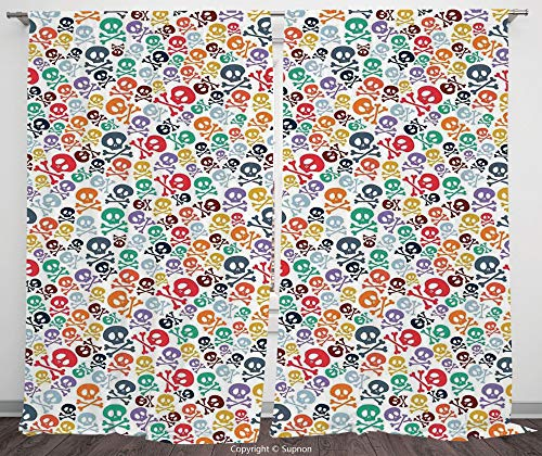 Rod Pocket Curtain Panel Polyester Translucent Curtains for Bedroom Living Room Dorm Kitchen Cafe/2 Curtain Panels/120 x 66 Inch/Skulls Decorations,Halloween Theme Colorful Skulls and Crossbones ()