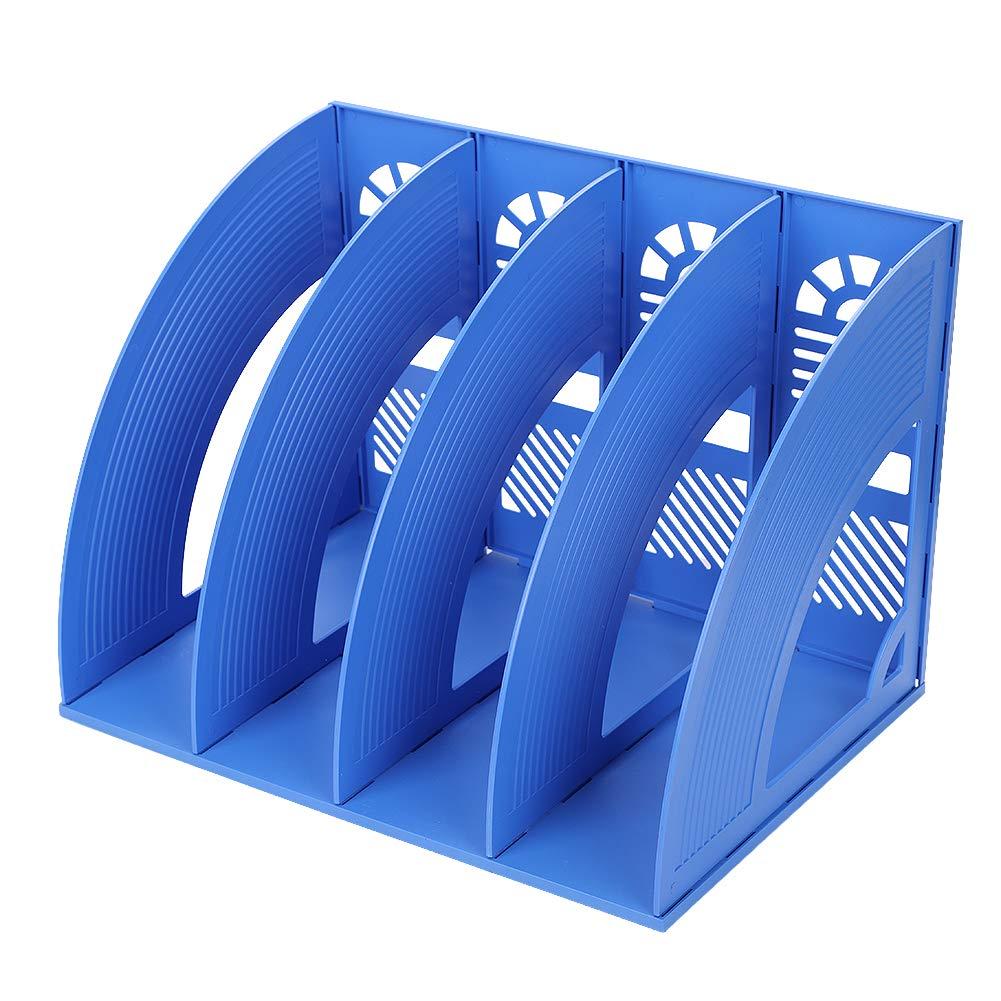 Desk file organizer 4scomparti display rack Holder Magazine supporti in plastica solido telaio desktop divisori e documento file e Storage organiser for Paper Magazine documenti e libri Nero ITODA