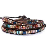 Handmade Women Genuine Leather Wrap Bracelet Bangle Cuff Rope Beads Adjustable