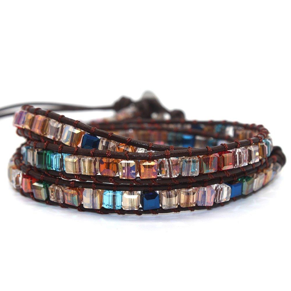 Handmade Genuine Leather Bracelet Cuff Bangle Multi Color Beaded 5 Wrap Adjustable