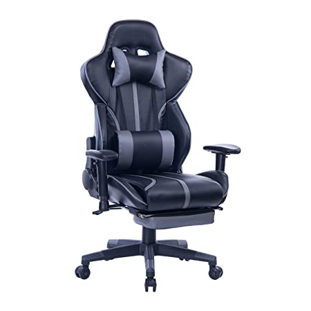 Blue Whale PC Gaming Chair with Footrest,Racing Video Game Chair High Back Gamer Chair Reclining Executive Ergonomic Office Computer Desk Chair with Headrest Lumbar Support Cushion BW-239 Grey