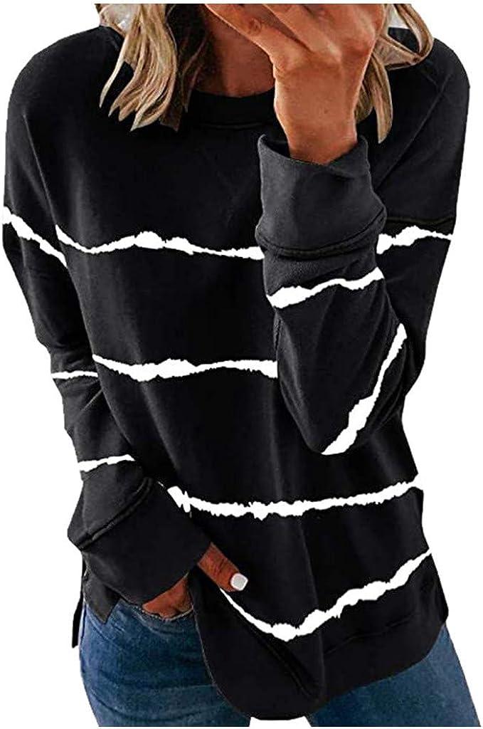 Fastbot womens Long Sleeve Love Pattern Printed Solid Crewneck Sweatshirt Pullover Cute Blouses Tops