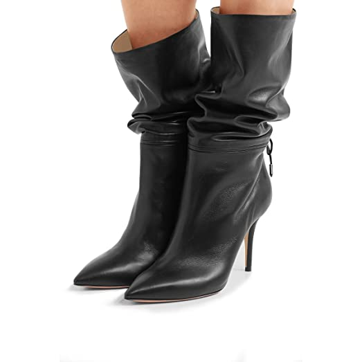 Women's Elegant Pull On Faux Suede Mid Chunky Heeled Pointed Toe Mid Calf Boots