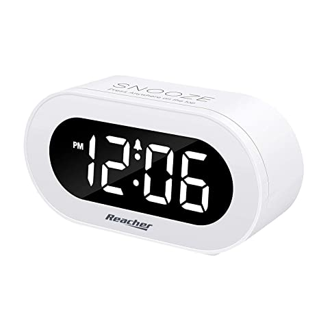 reacher small led digital alarm clock with snooze, simple to operate, full range brightness dimmer, adjustable alarm volume, outlet powered compact alarm (2018) movie clock radio time signal electric wave