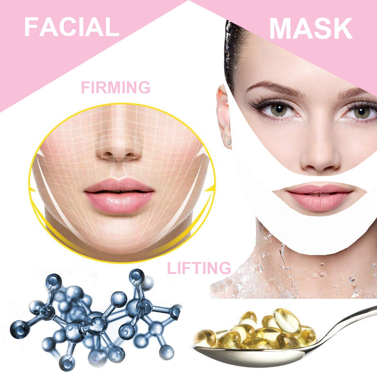 V Line Mask Chin Up Patch Double Chin Reducer | V Line Lifting Face Neck Mask | Tightening Firming Moisturizing Collagen Chin Mask | V Shape Face Lifting V Zone Mask Tape Set of 5 Pack