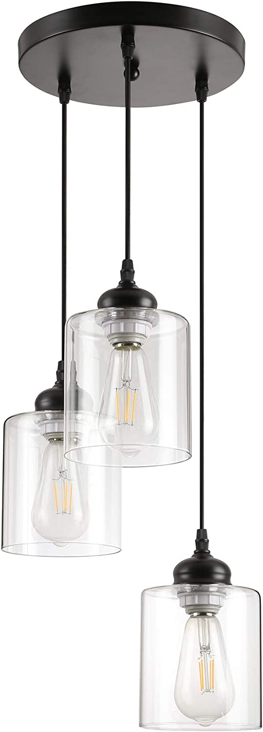 3 Lights Black Industrial Pendant Light,Farmhouse Vintage Hanging Lighting fixtures with Clear Glass lamp for kistchen Island Dining Room