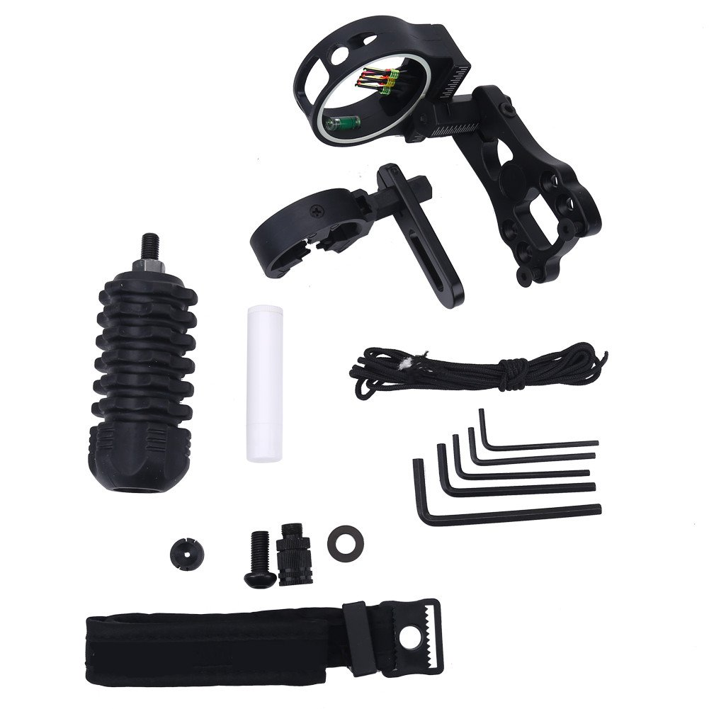 Archery Essential Accessory Combo Set 10 in 1 Portable Archery Kit Upgrade Combo Black Compound Bow Archery Combo Set Bow Sight, Arrow rest, Peep Sight, Rubber Silencer, Wrist Strap, Wrenches