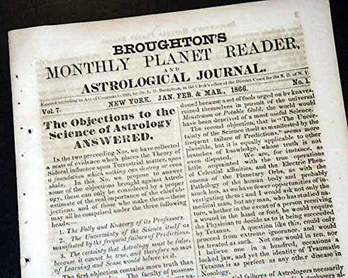 Rare FUTURE Phrenology Horoscope w/ William Shakespeare PRINT 1866 Newspaper BROUGHTON'S MONTHLY PLANET READER & ASTROLOGICAL JOURNAL, Philadelphia... (Best E Readers For Newspapers)