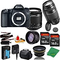 Great Value Bundle for 70D DSLR – 18-55mm STM + 75-300mm III + 2PCS 16GB Memory + Wide Angle + Telephoto Lens + Case