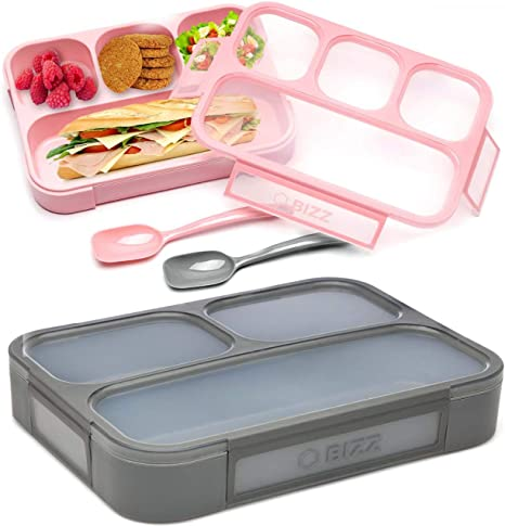 Amazon Com Bizz Bento Lunch Boxes With Spoon 2 Pack 3 And 4 Compartment Leakproof Food Storage Container Work Home School Meal Prep Portion Control Dry Or Liquid Men Women Kids Kitchen Dining