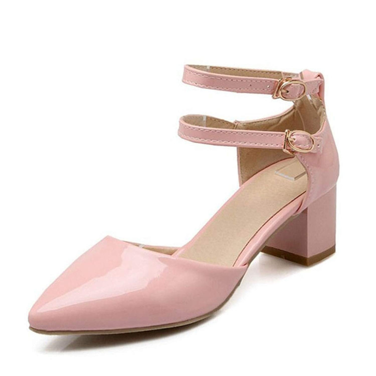 Elegant Women High Heel Sandals Ankle Strap Pointed Toe Thick Heel Sandals Summer Party Shoe