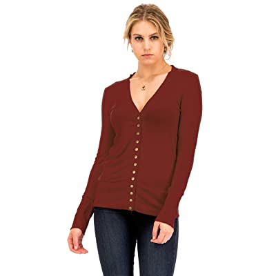 NANAVA Women's Basic Snap Button Ribbed Detail Long Sleeve Sweater Cardigan S - 3XL at Women's Clothing store