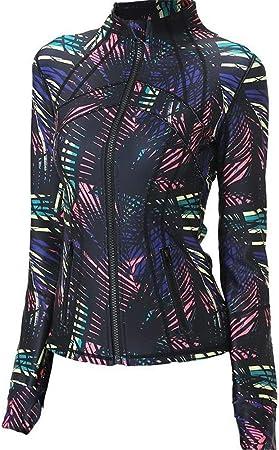 Lzcaure-SP Chaquetas Deportivas Mujer Camisa de Manga Larga duración Yoga Entrenamiento Mujeres Top Cremallera Chaqueta Deportiva con el Pulgar Agujero (S/M/L/XL/XXL) (Color : Photo Color, Size : S): Amazon.es: Hogar