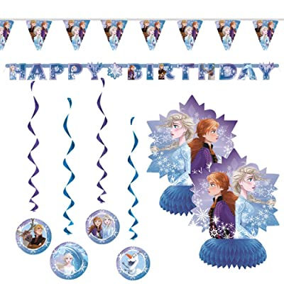 "Frozen 2 Children's Birthday Party Decorations Includes 7 Piece Decoration Kit and 1 Large Jointed ""Happy Birthday"" Banner: Toys & Games"