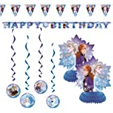 """Frozen 2 Children's Birthday Party Decorations Includes 7 Piece Decoration Kit and 1 Large Jointed """"Happy Birthday"""" Banner"""
