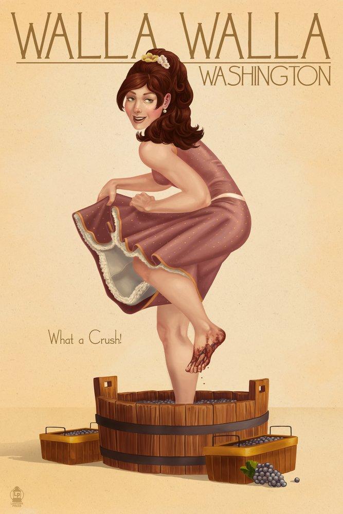 ワインCrushing Pinup Girl – ワラワラ、ワシントン州 36 x 54 Giclee Print LANT-46976-36x54 B017E9WNAE 36 x 54 Giclee Print36 x 54 Giclee Print