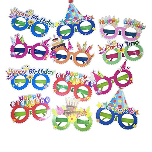 Happy Birthday Glasses,12 Pieces Photo Booth Props -